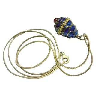 Fabergé-Style Guilloche Enamel Garnet Egg Pendant