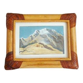 Mountain Snowscape Miniature Watercolor Painting