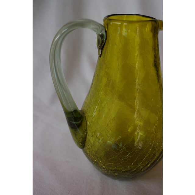 Image of Green Blown Crackle Glass Pitcher