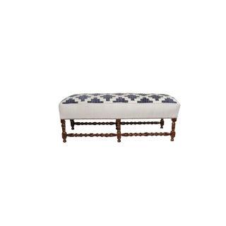 Blue & White Flat Weave Rug Upholstered Bench