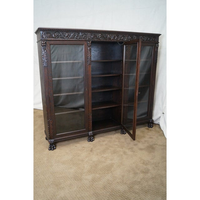 Image of Horner Antique Lion Carved Oak 3 Door Bookcases - A Pair