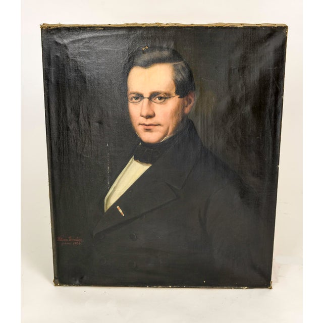 Image of Antique 19th C. German Doctor Oil Painting