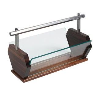 Rosewood and Glass Desktop Letter Holder