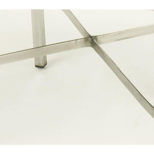 Image of Pair of Polished Steel X-Stretcher Benches in Complementary Faux Leather