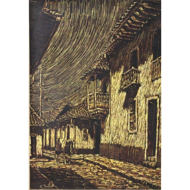 Image of 20th C. Colombian School Street Scene Drawing