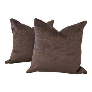 Anstoetz Solid Silk Strie Velvet Pillows in Amethyst-Tinged Shale Brown - a Pair
