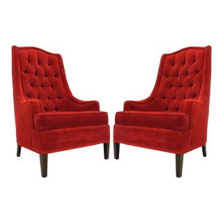 1940s Tufted Red Velvet Classic Hollywood Regency Chairs - A Pair