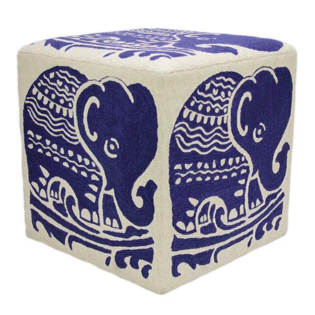 Kashmiri Crewel Ottoman with Indigo Elephant - Image 2 of 3