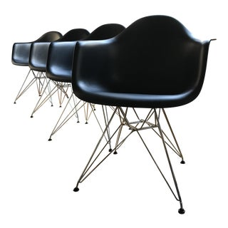Eames Black Molded Arm Chairs - Set of 4