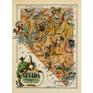 Vintage Nevada Pictorial Map, 1946