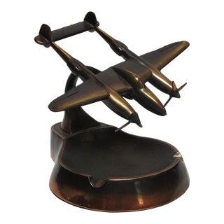 WW2 P-38 Bomber Copper Airplane Ashtray