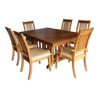 Mission Style Oak Table & Set of 6 Chairs
