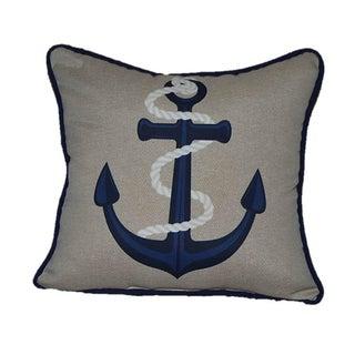 Tan & Navy Blue Anchor Pillow