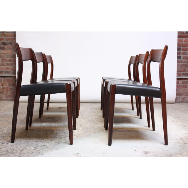Set of Six Rosewood #77 Dining Chairs by Niels O. Møller - Image 11 of 11