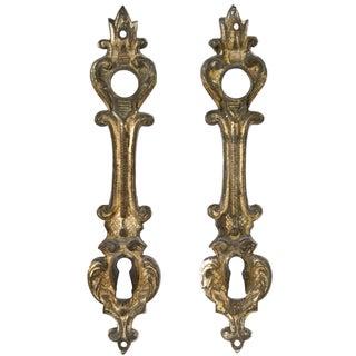 French Gilded Bronze Door Escutcheon Plates - Pair