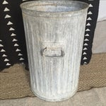 Image of Vintage Galvanized Metal Barrel Bucket