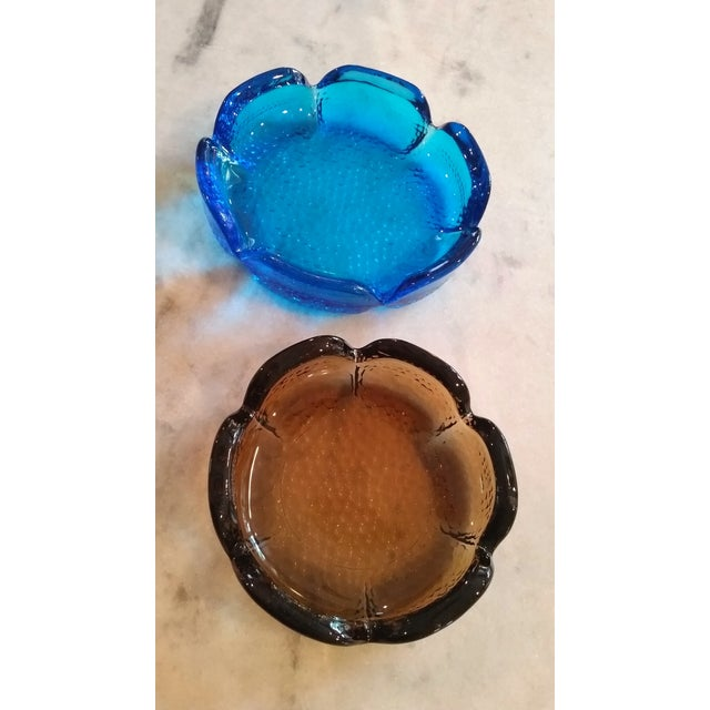 Mid-Century Modern Blue & Amber Trinket Catchers - A Pair - Image 2 of 8