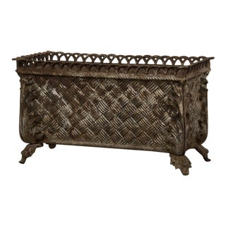 Basketweave Motif Cast Iron Jardiniere, France c.1880