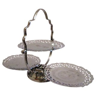 Silver Three-Tier Folding Pastry Tray
