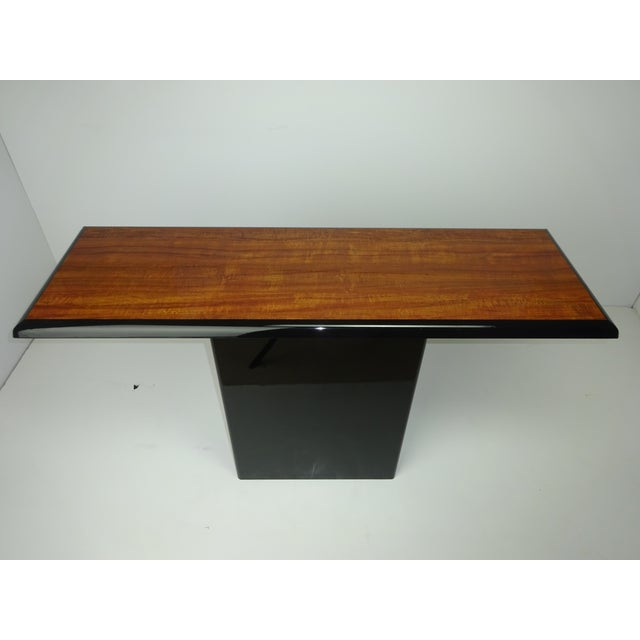 T Shaped Black & Wood Grain Console - Image 4 of 7