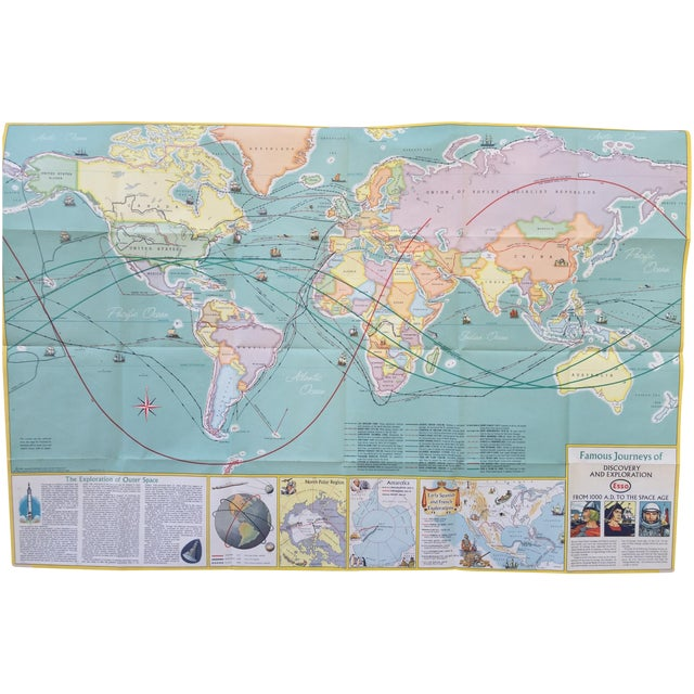 Image of Vintage Map Journeys of Discovery and Exploration