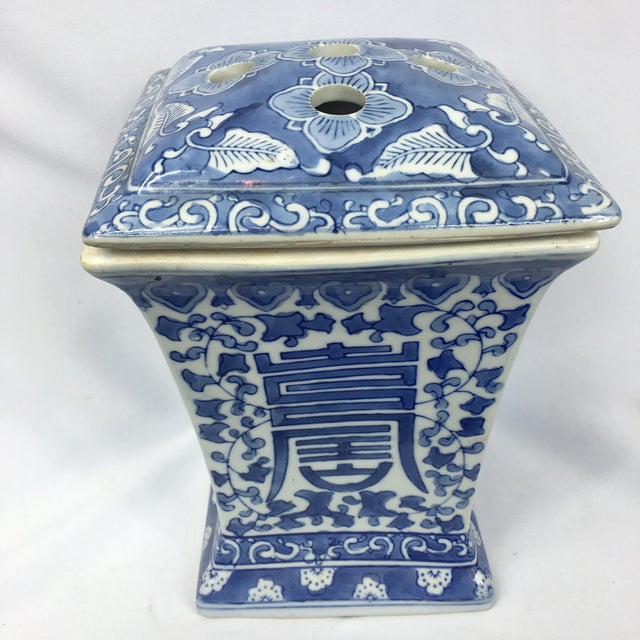Image of Blue & White Square Chinoiserie Floral Jar