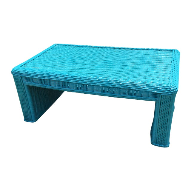 Caribbean Blue Indoor Outdoor Wicker Coffee Table Chairish