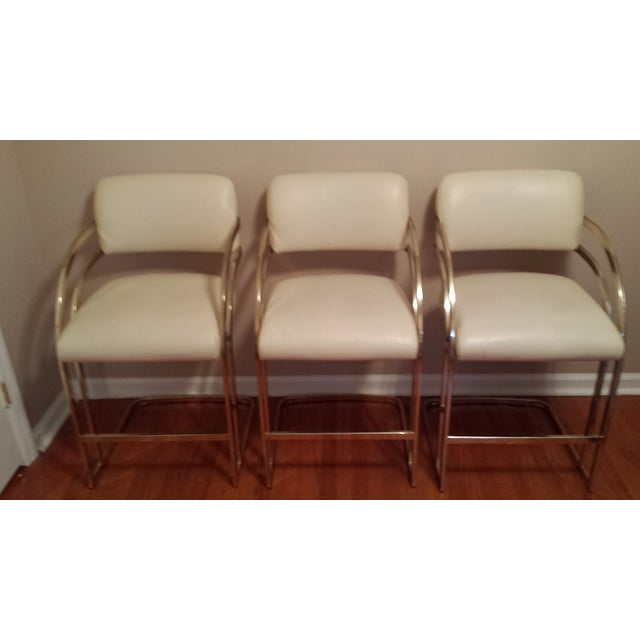 Image of Vintage Brass Cantilever Bar Stools - Set of 3