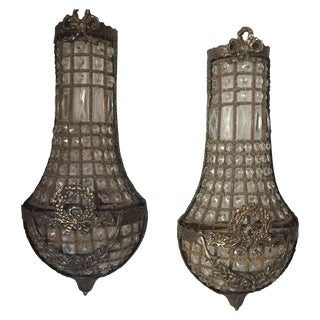 French Brass and Crystal Sconces - a Pair