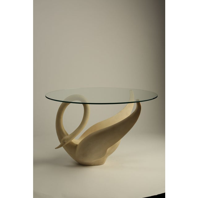 1960s Resin Swan Table with Glass Top - Image 2 of 3
