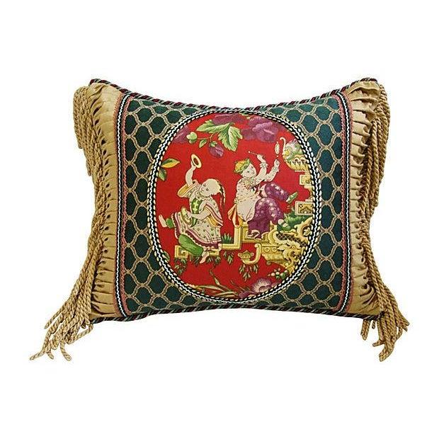 Image of Designer English Chintz Fabric Fringe Pillow