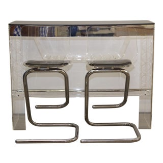 1970's Lucite and Chrome Bar w/ Seating