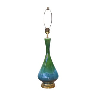 Green and Blue Vase Shape Art Glazed Pottery Table Lamps