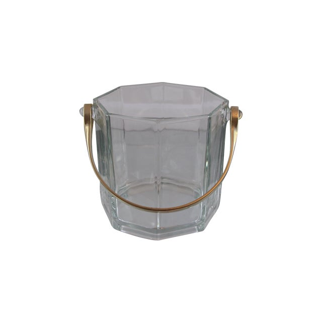 Octagon Glass & White Gold Metal Finish Icebucket - Image 1 of 5