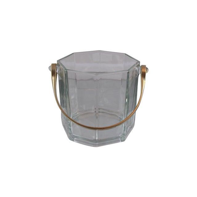 Image of Octagon Glass & White Gold Metal Finish Icebucket