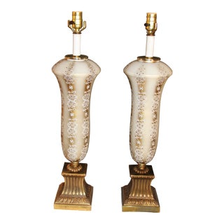 Hand Painted Table Lamps - A Pair