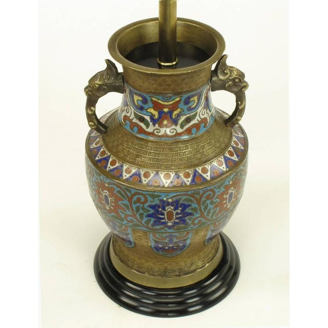 Pair of Japanese Brass Champlevé Cloisonné Urn-Form Table Lamps - Image 4 of 6