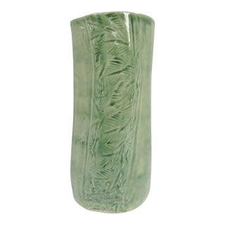 Handmade Green Vase with Leaf Details