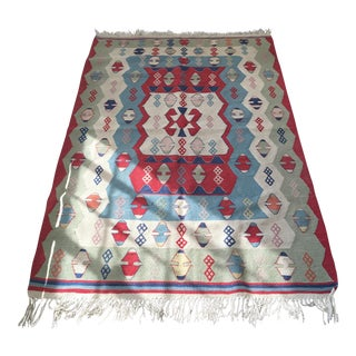 Semi Antique Turkish Kilim Rug - 3′12″ × 5′12″