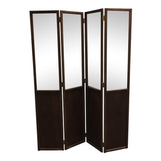 Vintage Mirrored Top Panels & Faux Patinated Copper 4 Panel Screen