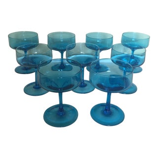 Turquoise Blue Sherbert or Cocktail Glasses - Set of 9