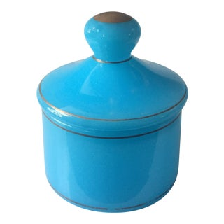 Antique Italian Blue Opaline Style Glass Lidded Jar