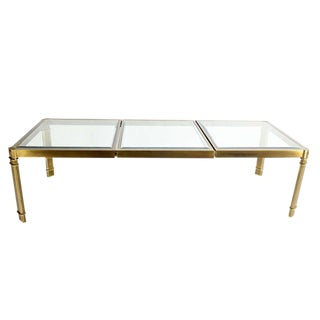 Large Glass and Brass Dining Table by Mastercraft, Mid-Century Modern
