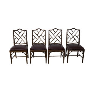 Faux Bamboo Chinese Chippendale Dining Chairs - Set of 4