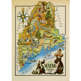 Vintage Maine Pictorial Map, 1946