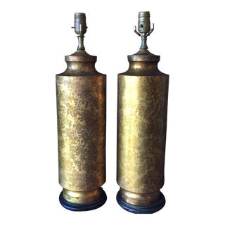 Mid-Century Gold Splattered Metal Wooden Lamps - A Pair