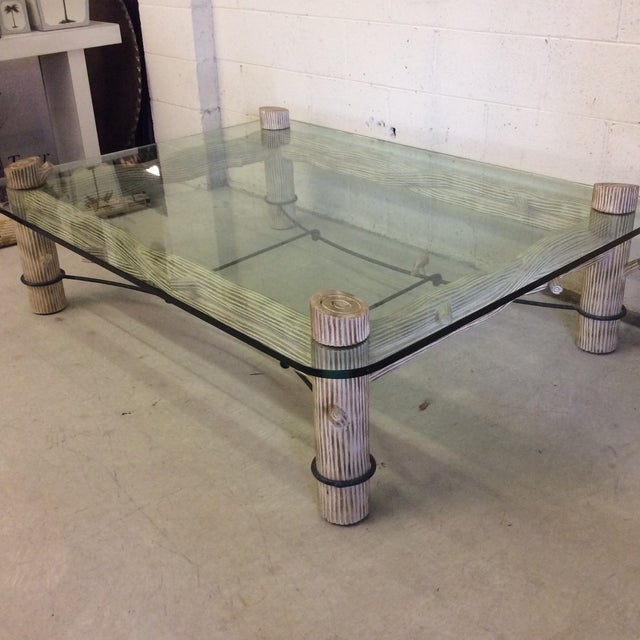 Faux Bois Iron & Glass Coffee Table - Image 3 of 6