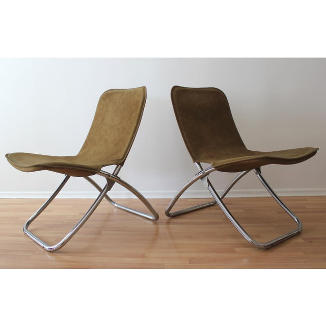 Faux Camel Suede Folding Lounge Chairs - A Pair - Image 3 of 7