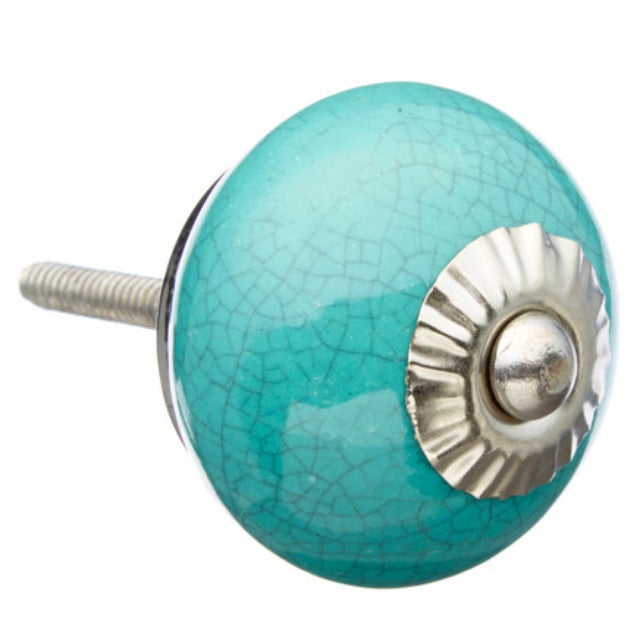 Sea Green Crackle Knobs- Set of 6 - Image 1 of 2