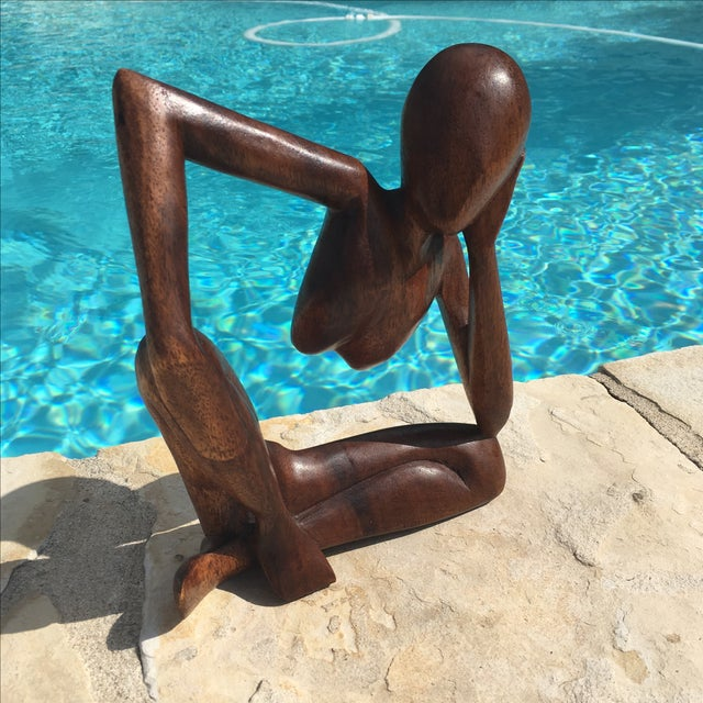 Mid-Century Modern Wooden Sculpture - Image 6 of 7